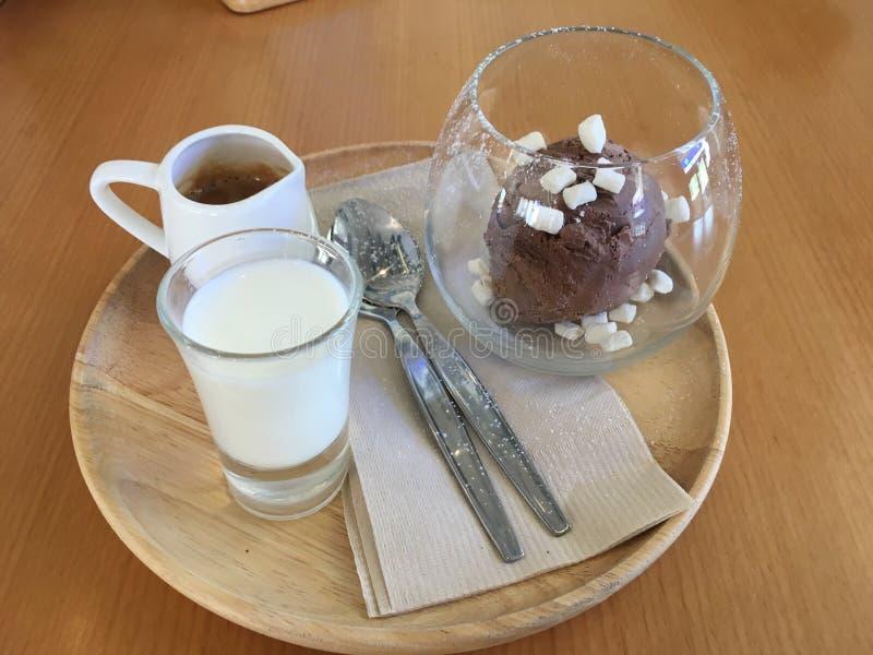 Affagato ett klassiskt menyespressokaffe att h?lla p? chokladglass royaltyfria bilder