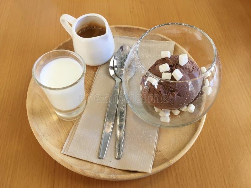 Affagato ett klassiskt menyespressokaffe att h?lla p? chokladglass royaltyfri bild