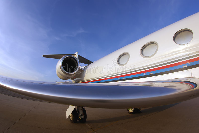 Affaire-avion à réaction de Fisheye photo libre de droits