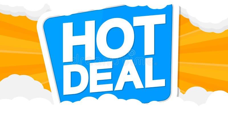 Affaire chaude, calibre de conception d'affiche de vente, bannière horizontale de remise, illustration de vecteur illustration de vecteur