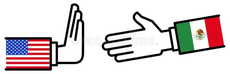 Affaire d'affaires des Etats-Unis MEXIQUE, accord commercial, objection, négociations, refusant la poignée de main, concept, grap illustration libre de droits