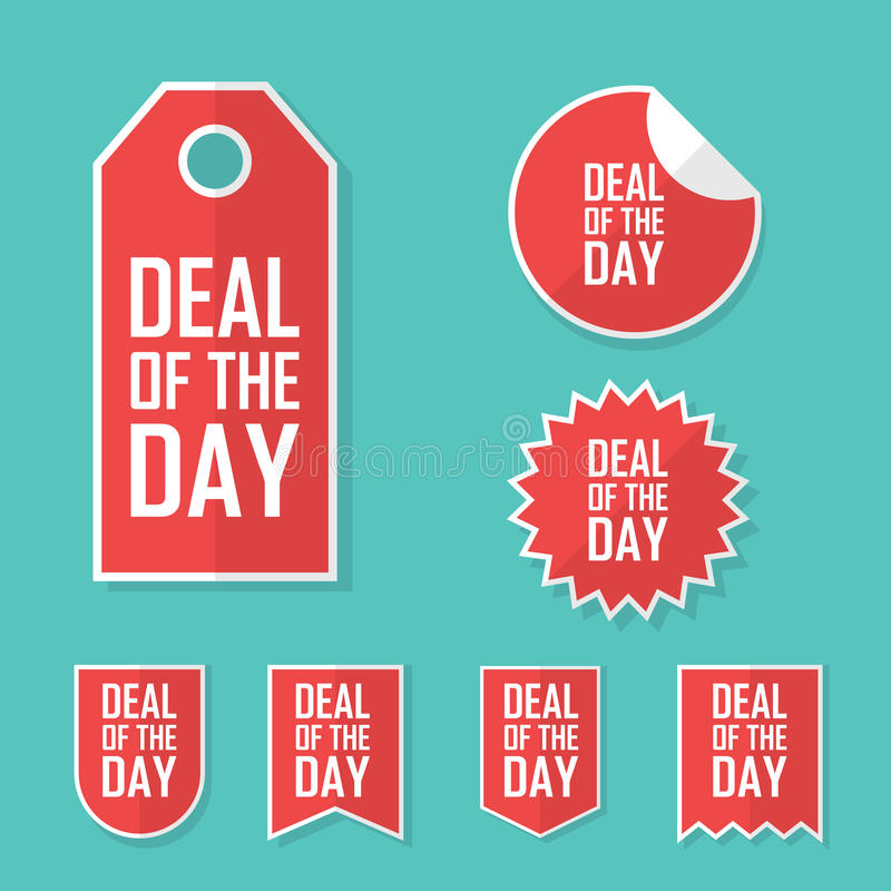 Affaire de l'autocollant de vente de jour Conception plate moderne, étiquette de couleur rouge Faire de la publicité l'étiquette  illustration libre de droits