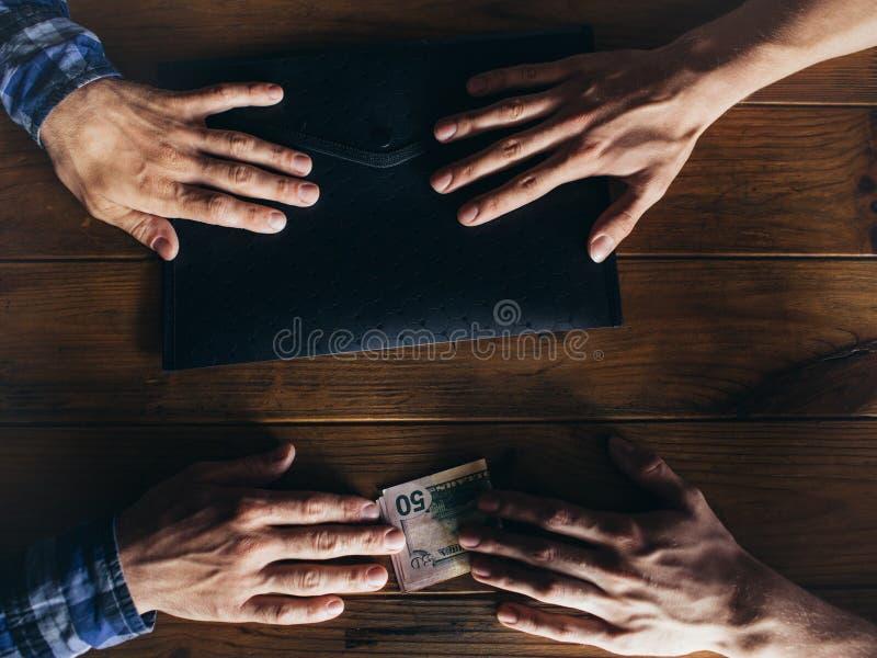 Affaire illégale d'entreprise d'affaires de corruption de paiement illicite photos stock