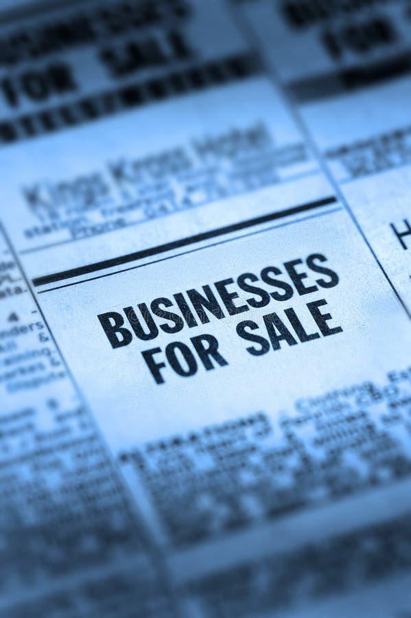 Affaires à vendre Classifieds photo stock