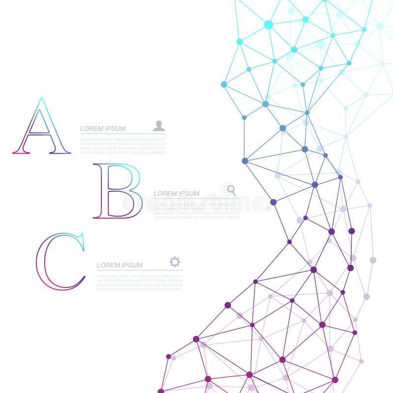 Affaires abstraites de vecteur de molécule d'ADN infographic Conception infographic de chimie médicale Calibre scientifique d'aff illustration stock