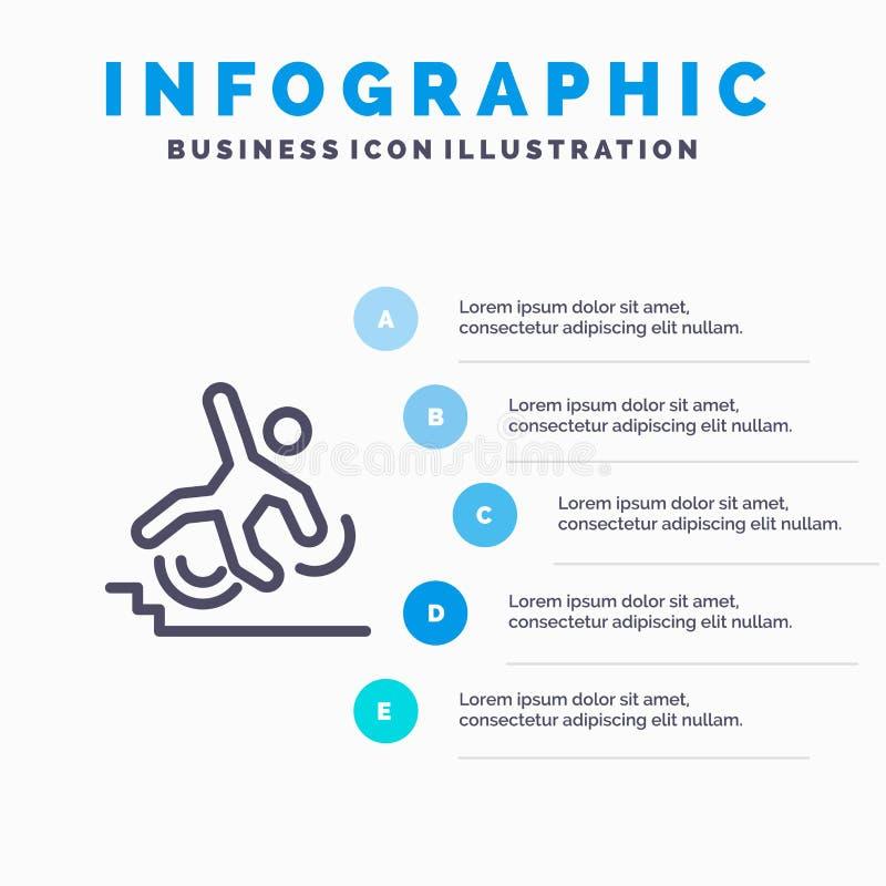 Affaires, accident, échoué, échec, ligne icône d'automne avec le fond d'infographics de présentation de 5 étapes illustration de vecteur