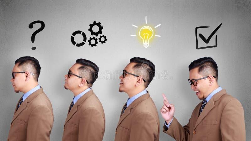 Affaires analysant le concept Conclusion de la solution au problème de Solvce image stock