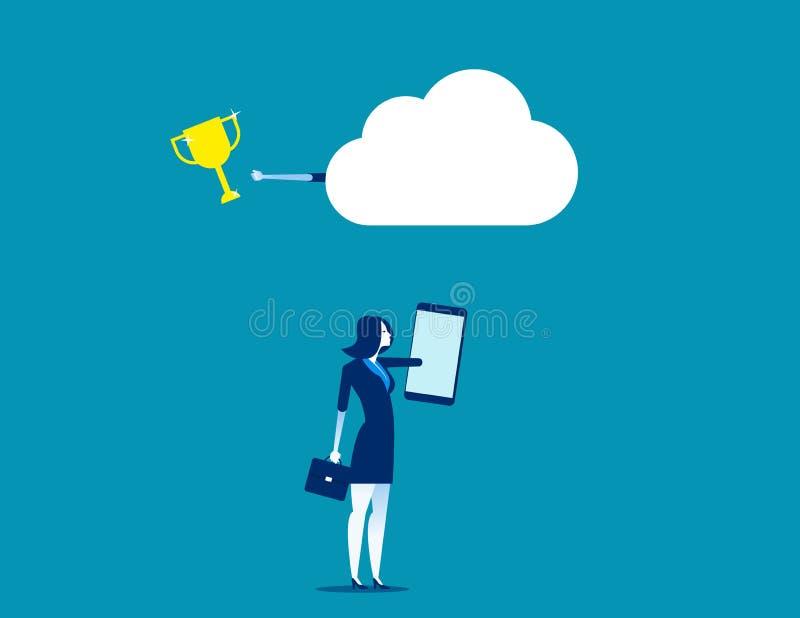 Affaires avec la technologie de réseau de nuage Illustration de vecteur de technologie d'affaires de concept illustration stock