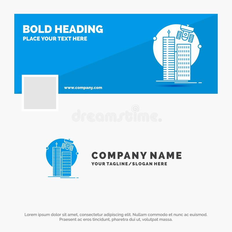 Affaires bleues Logo Template pour construire, ville futée, technologie, satellite, société Conception de banni?re de chronologie illustration libre de droits