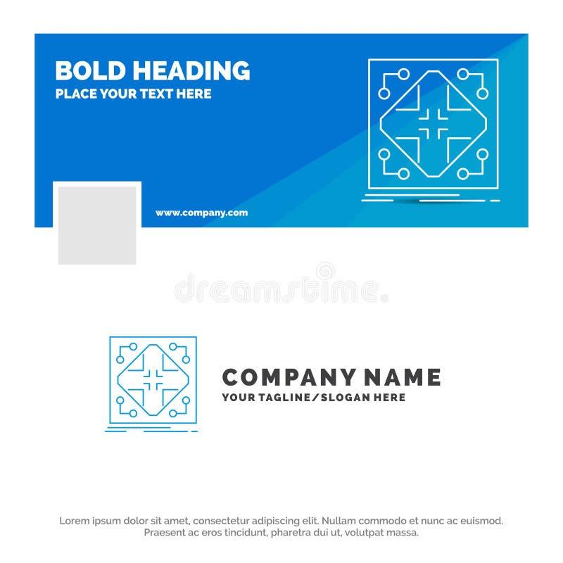 Affaires bleues Logo Template pour des données, infrastructure, réseau, matrice, grille Conception de banni?re de chronologie de  illustration libre de droits