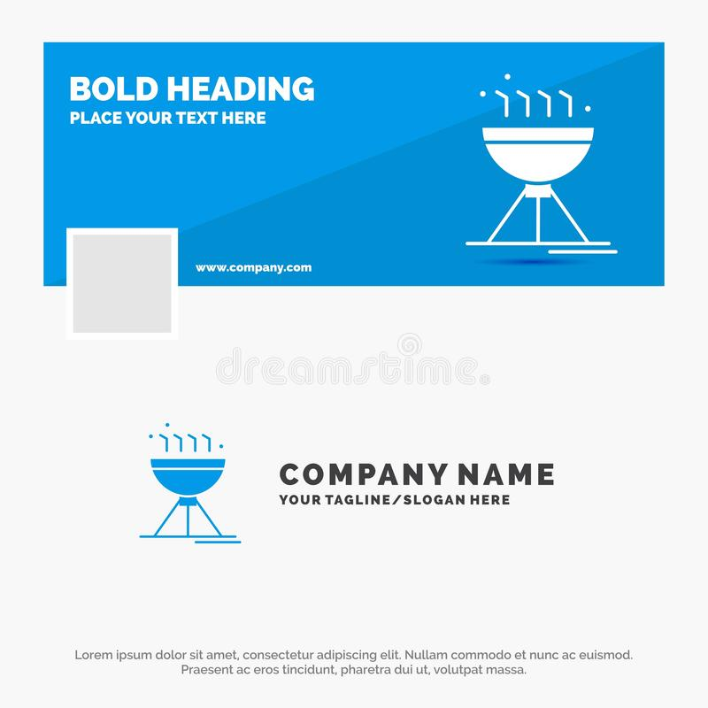 Affaires bleues Logo Template pour faire cuire BBQ, camping, nourriture, gril Conception de banni?re de chronologie de Facebook f illustration libre de droits