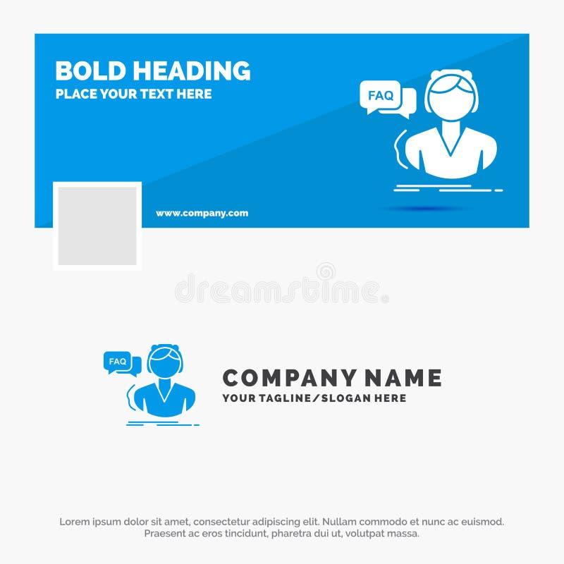 Affaires bleues Logo Template pour FAQ, aide, appel, consultation, aide Conception de banni?re de chronologie de Facebook Drapeau illustration libre de droits