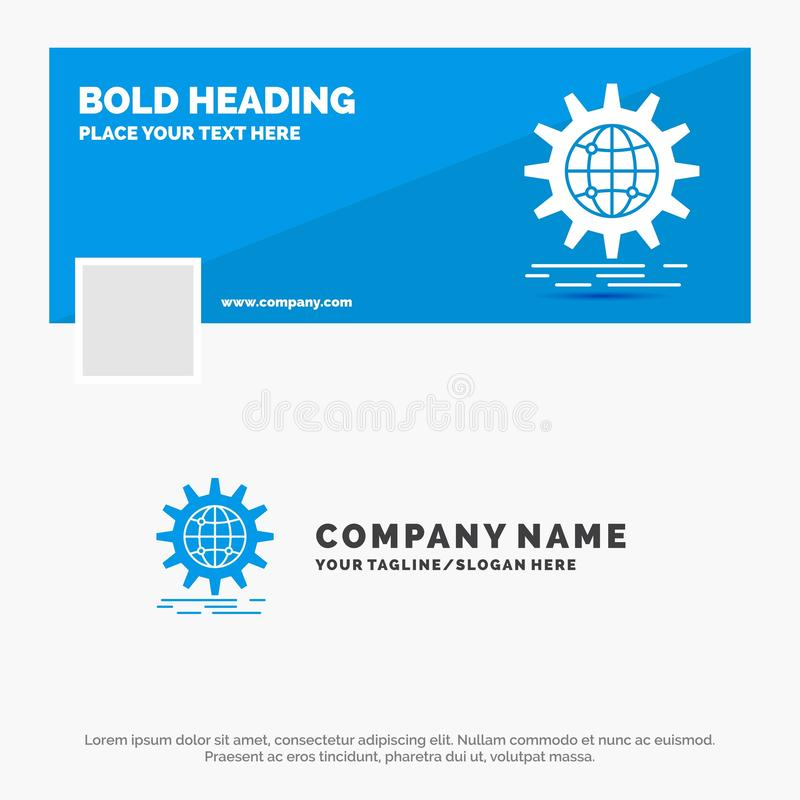 Affaires bleues Logo Template pour international, affaires, globe, mondial, vitesse Conception de banni?re de chronologie de Face illustration stock