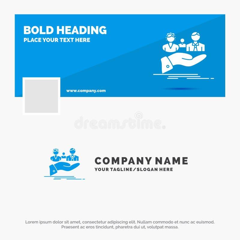 Affaires bleues Logo Template pour l'assurance, sant?, famille, la vie, main Conception de banni?re de chronologie de Facebook Dr illustration stock