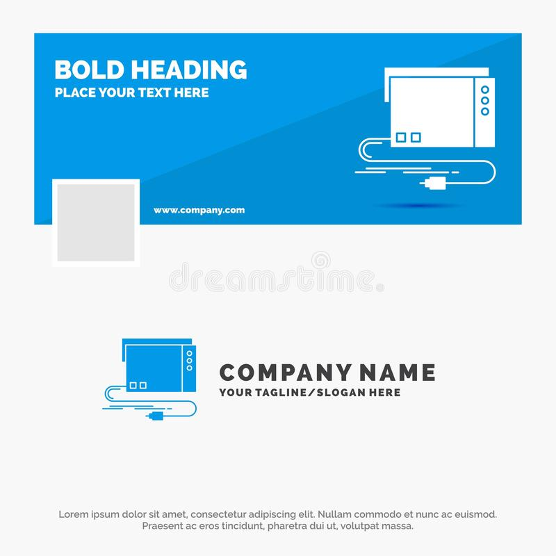 Affaires bleues Logo Template pour l'audio, carte, externe, interface, bruit Conception de banni?re de chronologie de Facebook Dr illustration stock