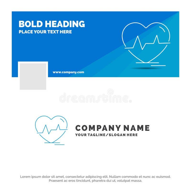 Affaires bleues Logo Template pour l'ecg, coeur, battement de coeur, impulsion, battement Conception de banni?re de chronologie d illustration libre de droits