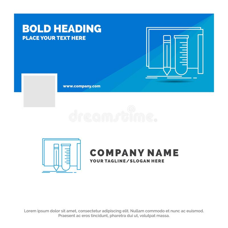 Affaires bleues Logo Template pour la construction, ?quipement, ouvrier, laboratoire, outils Conception de banni?re de chronologi illustration stock