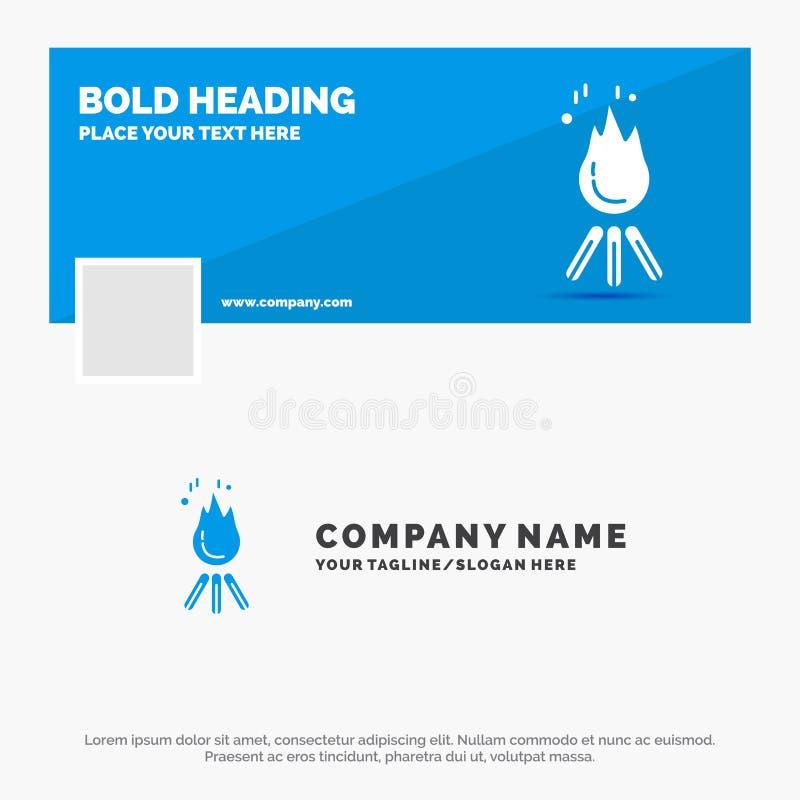 Affaires bleues Logo Template pour le feu, flamme, feu, camping, camp Conception de banni?re de chronologie de Facebook fond de b illustration de vecteur