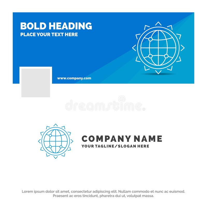 Affaires bleues Logo Template pour le monde, globe, SEO, affaires, optimisation Conception de banni?re de chronologie de Facebook illustration libre de droits