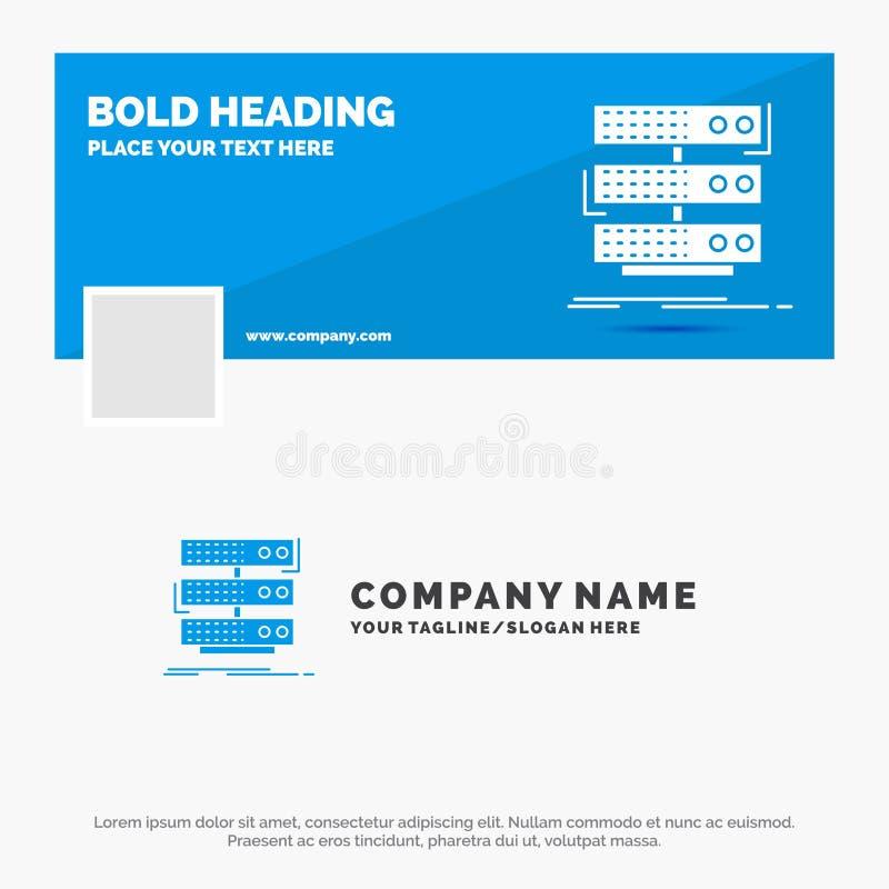 Affaires bleues Logo Template pour le serveur, stockage, support, base de données, données Conception de banni?re de chronologie  illustration de vecteur