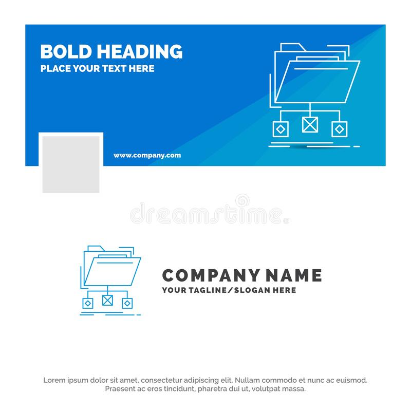 Affaires bleues Logo Template pour le support, données, dossiers, dossier, réseau Conception de banni?re de chronologie de Facebo illustration stock