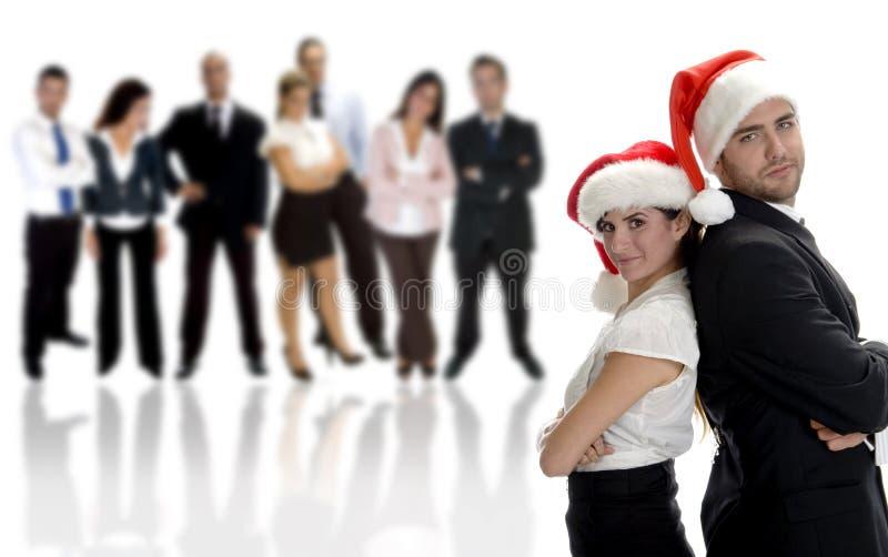 affaires célébrant des associés de Noël image libre de droits