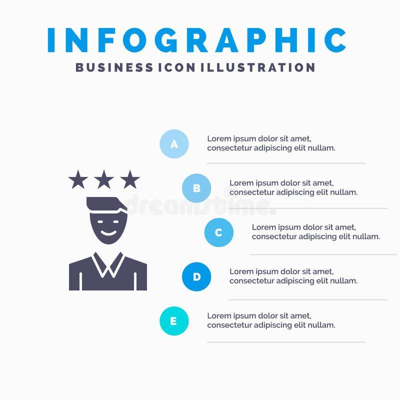 Affaires, carrière, croissance, le travail, fond solide de présentation d'étapes d'Infographics 5 d'icône de chemin illustration libre de droits