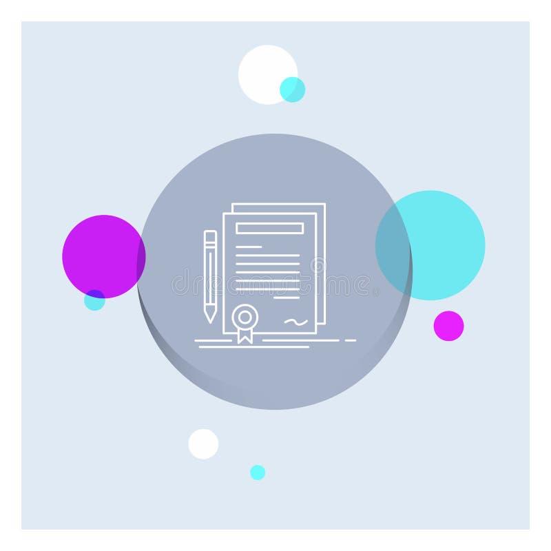 Affaires, certificat, contrat, degré, ligne blanche fond coloré de document de cercle d'icône illustration de vecteur