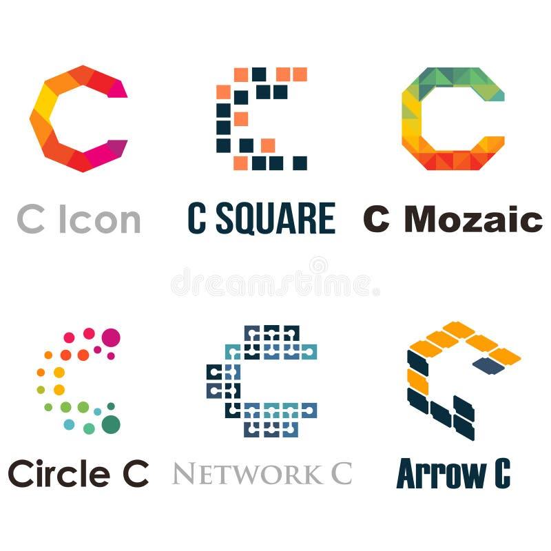 Affaires colorées Logo Template Set de C de police unique de lettre illustration libre de droits
