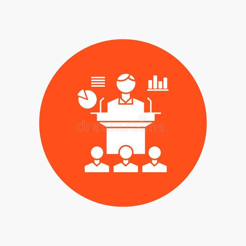 Affaires, conférence, convention, présentation, icône blanche de Glyph de séminaire en cercle Illustration de bouton de vecteur illustration stock