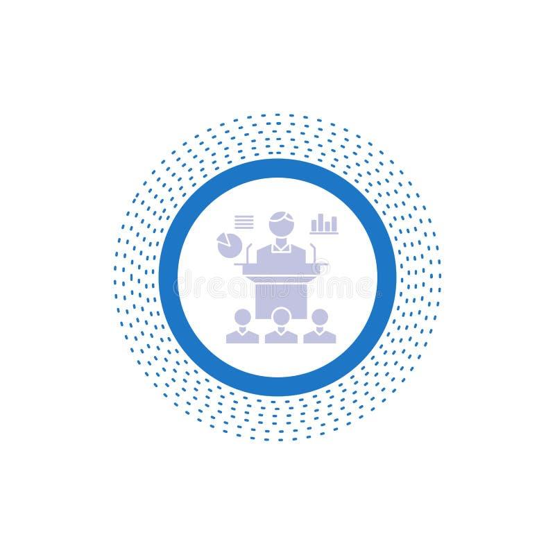 Affaires, conférence, convention, présentation, icône de Glyph de séminaire Illustration d'isolement par vecteur illustration stock