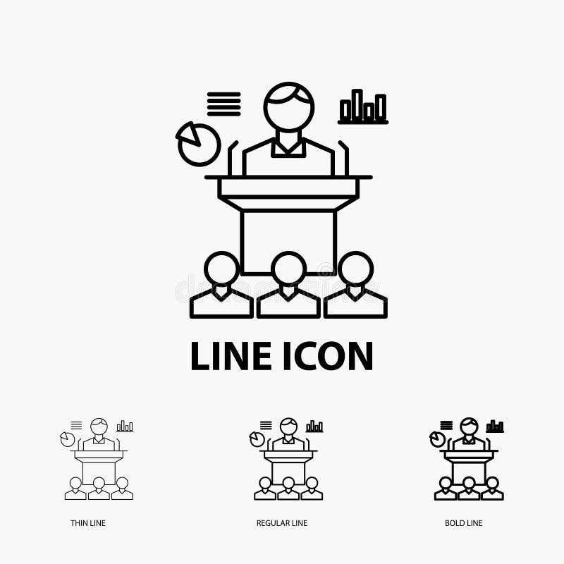 Affaires, conférence, convention, présentation, icône de séminaire dans la ligne style mince, régulière et audacieuse Illustratio illustration stock