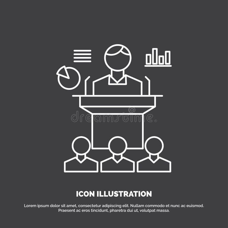 Affaires, conférence, convention, présentation, icône de séminaire Ligne symbole de vecteur pour UI et UX, site Web ou applicatio illustration de vecteur