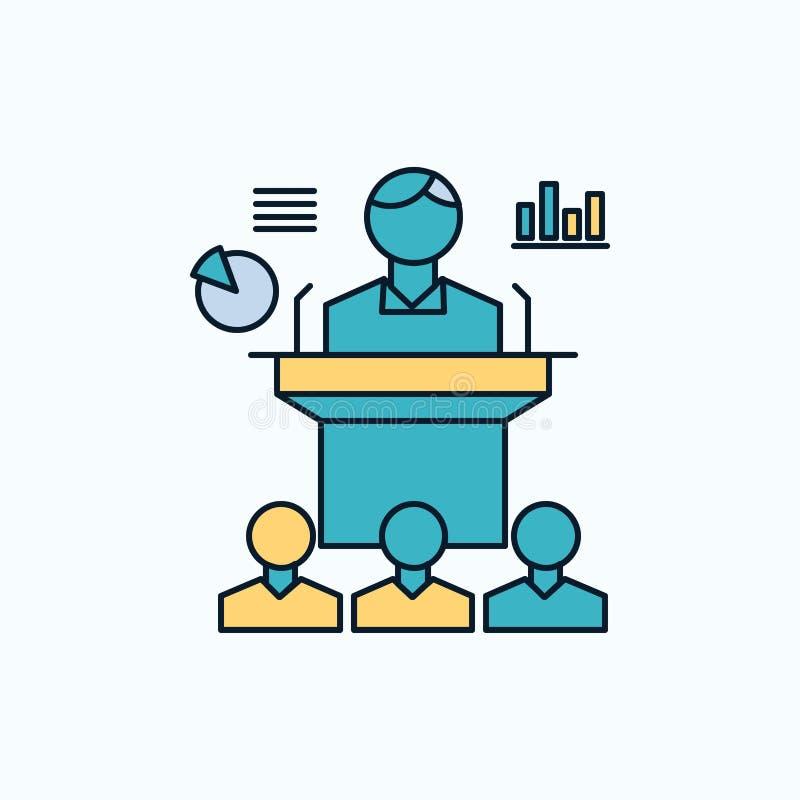 Affaires, conférence, convention, présentation, icône plate de séminaire signe et symboles verts et jaunes pour le site Web et le illustration stock