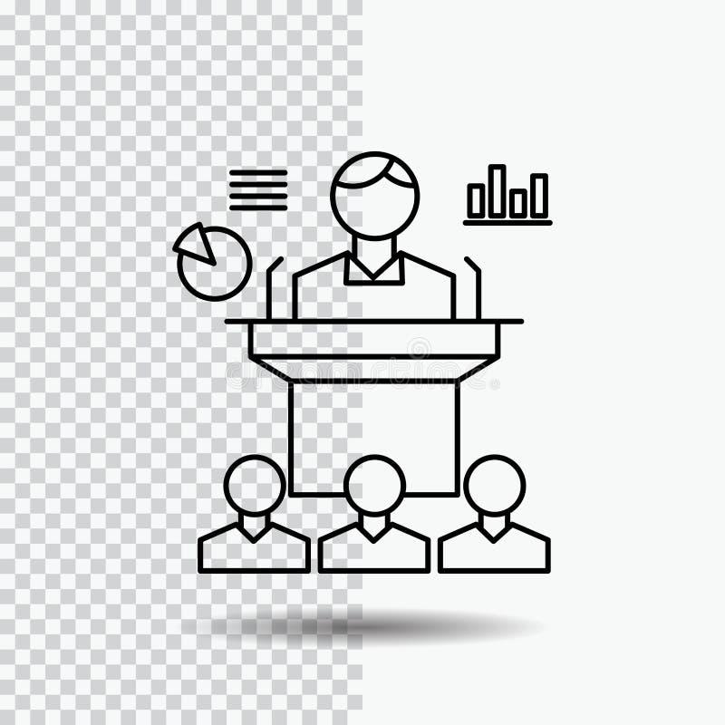Affaires, conférence, convention, présentation, ligne icône de séminaire sur le fond transparent Illustration noire de vecteur d' illustration stock