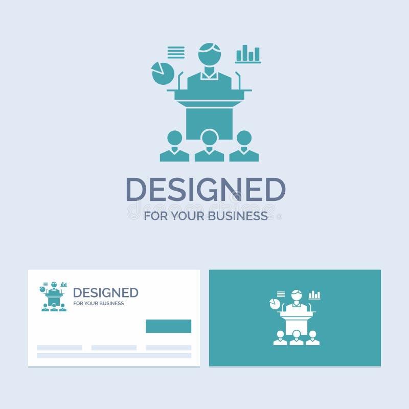 Affaires, conférence, convention, présentation, affaires Logo Glyph Icon Symbol de séminaire pour vos affaires Affaires de turquo illustration stock