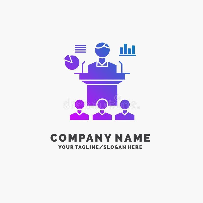 Affaires, conférence, convention, présentation, affaires pourpres Logo Template de séminaire Endroit pour le Tagline illustration stock