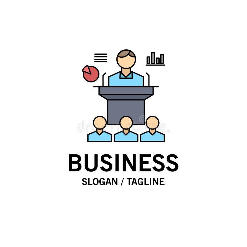 Affaires, conférence, convention, présentation, vecteur plat d'icône de couleur de séminaire illustration stock