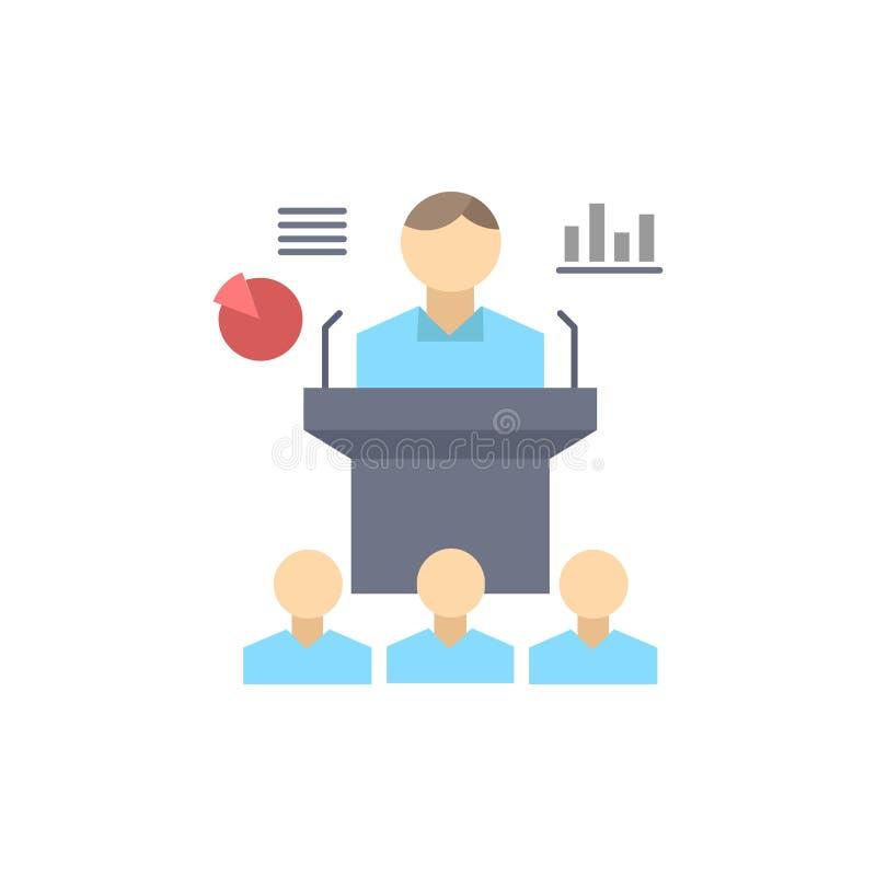 Affaires, conférence, convention, présentation, vecteur plat d'icône de couleur de séminaire illustration de vecteur