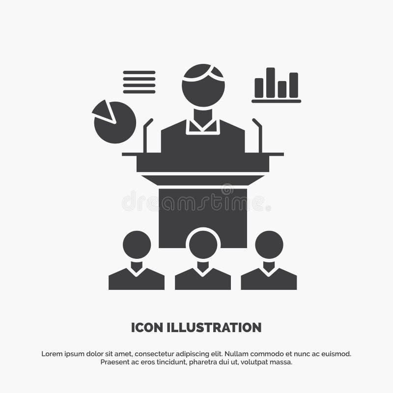 Affaires, conf?rence, convention, pr?sentation, ic?ne de s?minaire symbole gris de vecteur de glyph pour UI et UX, site Web ou mo illustration stock