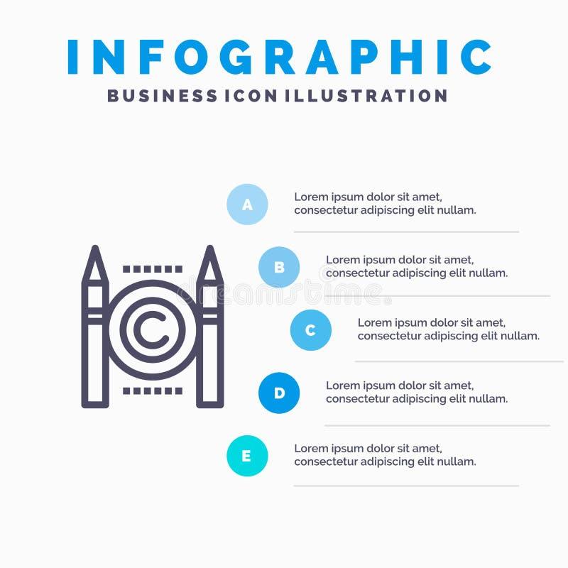 Affaires, conflit, Copyright, icône de ligne numérique avec le fond d'infographics de présentation de 5 étapes illustration de vecteur