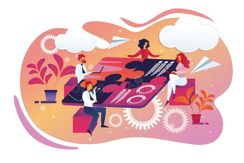 Affaires cr?atives Team Sitting autour de Tableau de puzzle illustration stock