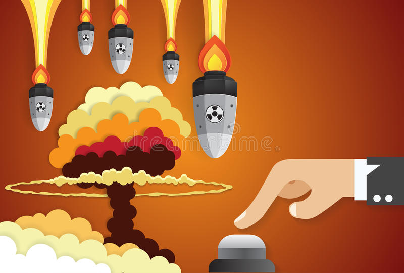 Affaires d'une main d'homme d'affaires poussant le bouton marche, guerre nucléaire illustration stock