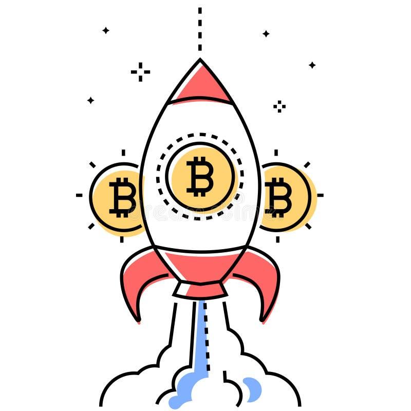 Affaires de Bitcoin - ligne colorée illustration conceptuelle de style de conception illustration de vecteur