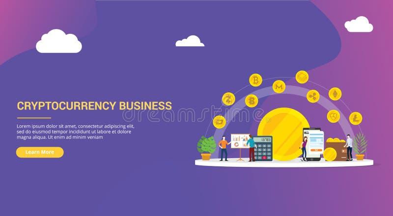 Affaires de débarquement de cryptocurrency d'ux d'ui de calibre de page de conception de site Web avec le divers genre de technol illustration libre de droits