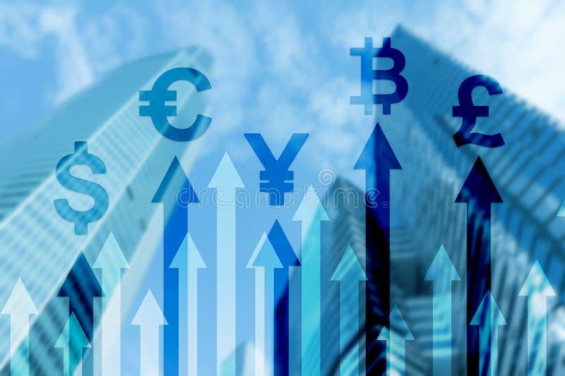 Affaires de double exposition et concept financier Flèches de croissance de devise Opérations boursières et forex illustration de vecteur