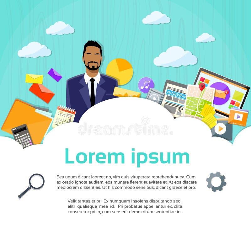 Affaires de finances de Cloud Copy Space d'homme d'affaires illustration de vecteur