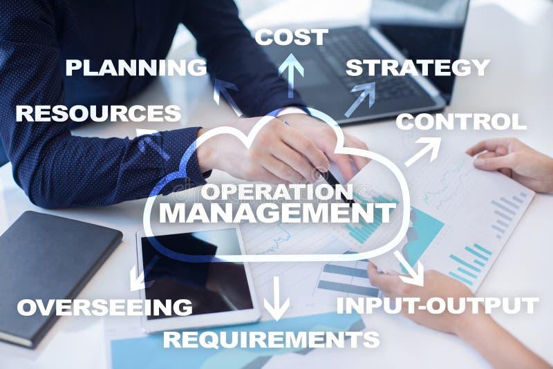 Affaires de gestion d'opération et concept de technologie sur l'écran virtuel image stock