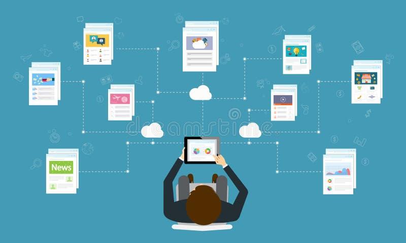 Affaires de personnes fonctionnant à côté du comprimé sur la connexion internet illustration libre de droits