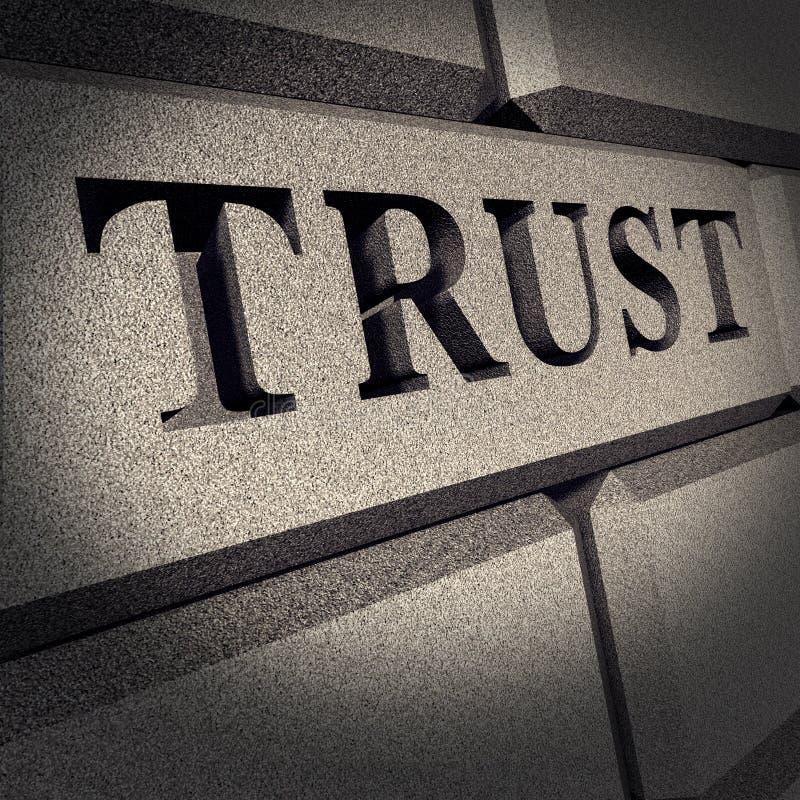 Affaires de signe de roche en planche d'honneur de confiance financières illustration libre de droits